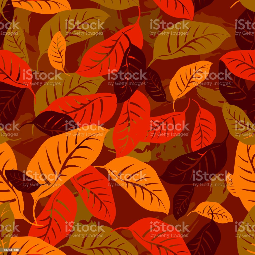 Autumn fallen leaves seamless pattern background vector art illustration