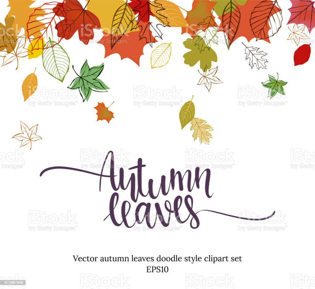 Autumn falling leaves design vector art illustration