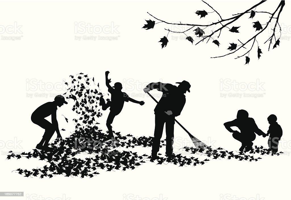 Autumn Family Chores Vector Silhouette vector art illustration