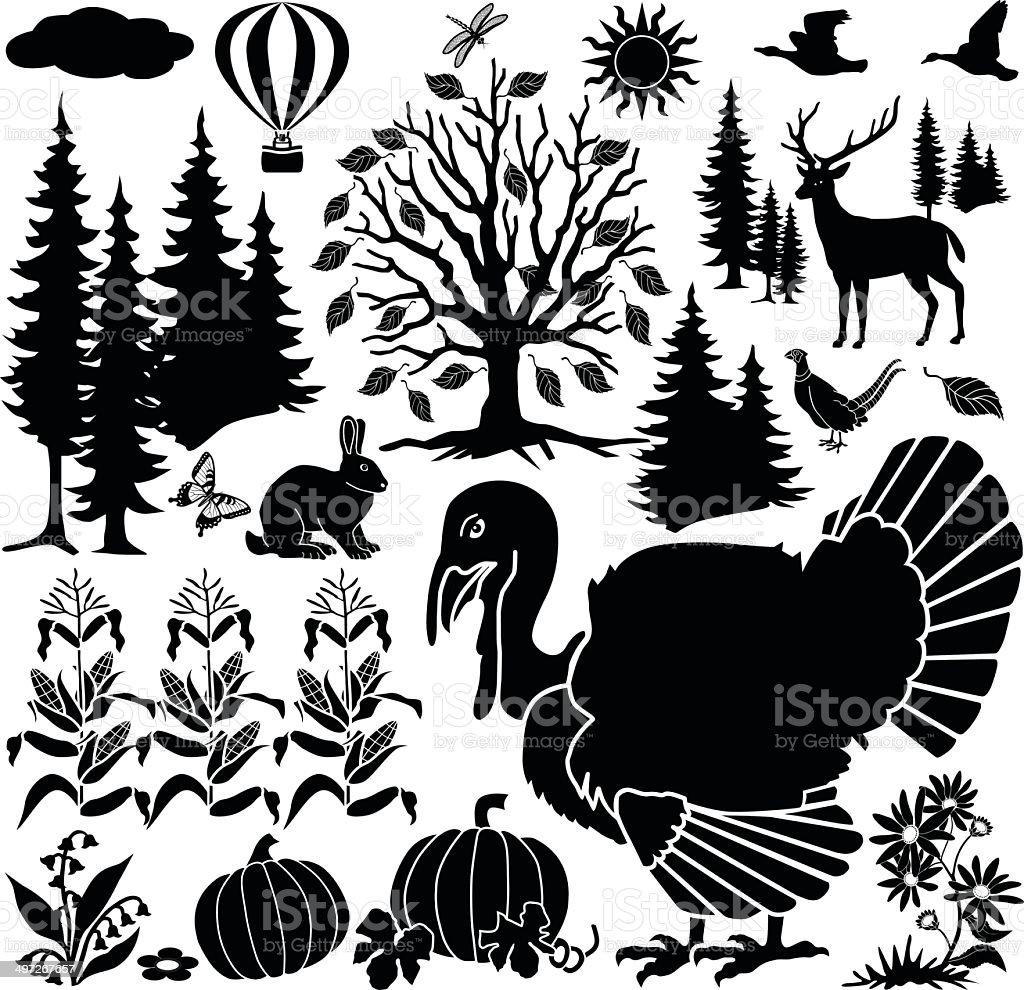 autumn farm design elements royalty-free stock vector art