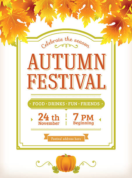 Autumn festival invitation. Fall party poster. Thanksgiving day Autumn festival invitation. Fall party template. Thanksgiving day - american holiday. Fall maple leaves. Fun harvest festival autumn flyer with text. Vector background. Vintage, retro design. harvesting stock illustrations
