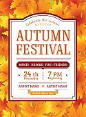 Autumn festival invitation. Fall party template. Thanksgiving day.