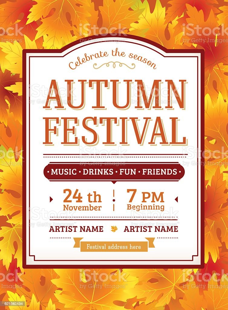 Autumn festival invitation. Fall party template. Thanksgiving day. vector art illustration