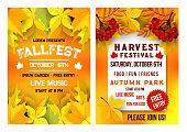 Autumn festival music picnic vector poster