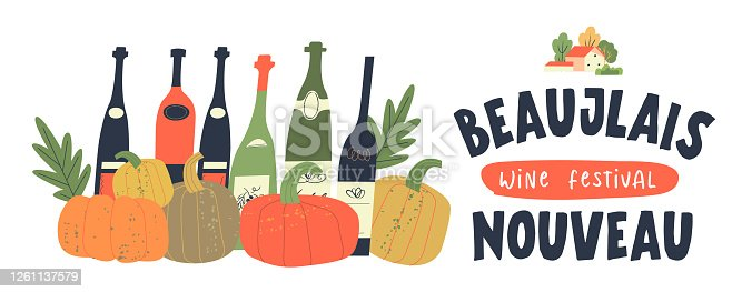 istock Autumn festival of young wine in France Beaujolais Nouveau. Vector illustration on a white background. 1261137579