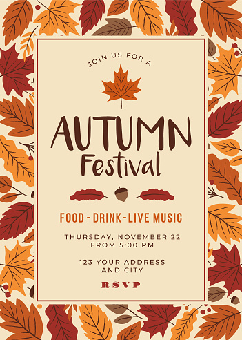 Autumn festival poster template.