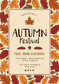 Autumn festival poster template. Stock illustration