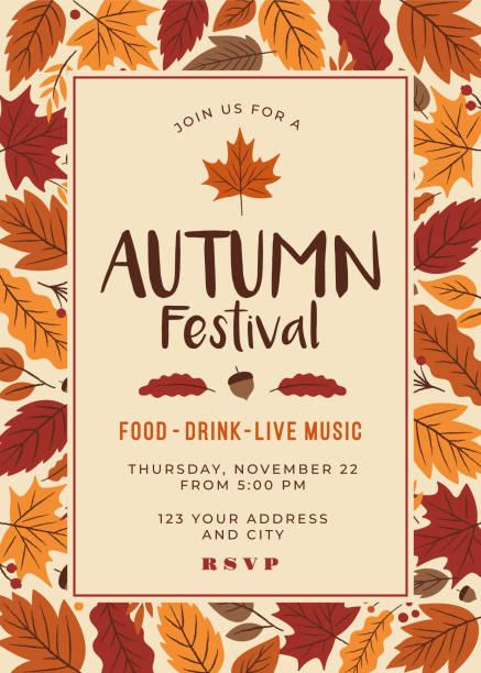 Autumn festival poster template. Autumn festival poster template. Stock illustration autumn borders stock illustrations