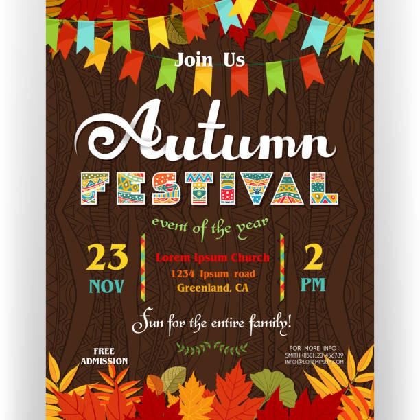 stockillustraties, clipart, cartoons en iconen met herfst festival poster sjabloon met aangepaste tekst. - traditioneel festival