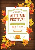 Autumn festival poster. Thanksgiving party invitation template.