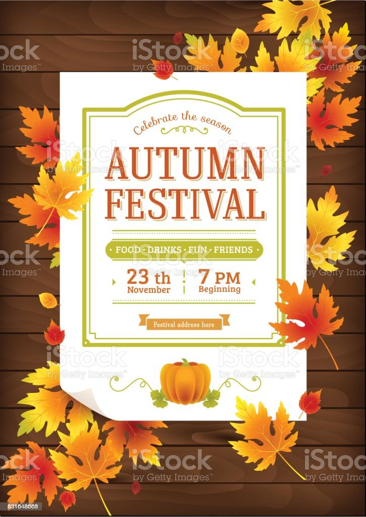Autumn festival poster. Thanksgiving party invitation template. vector art illustration