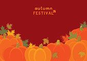 Autumn Festival. Pumpkins greeting card. Vector illustration.