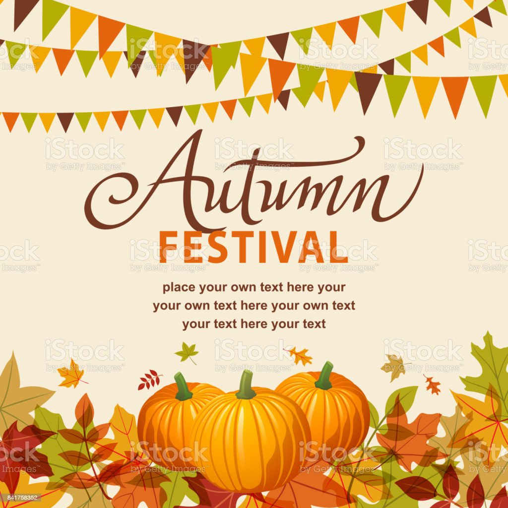 Autumn Festival With Pumpkins vector art illustration