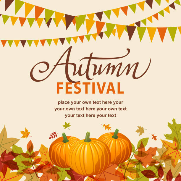 autumn festival with pumpkins - tradycyjny festiwal stock illustrations