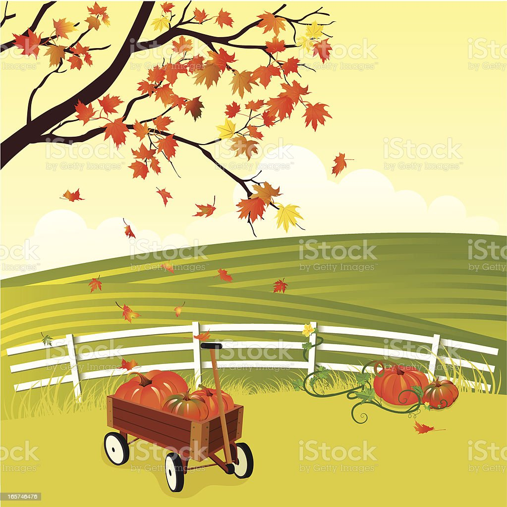 Autumn Field With Pumpkins And A Wagon royalty-free stock vector art