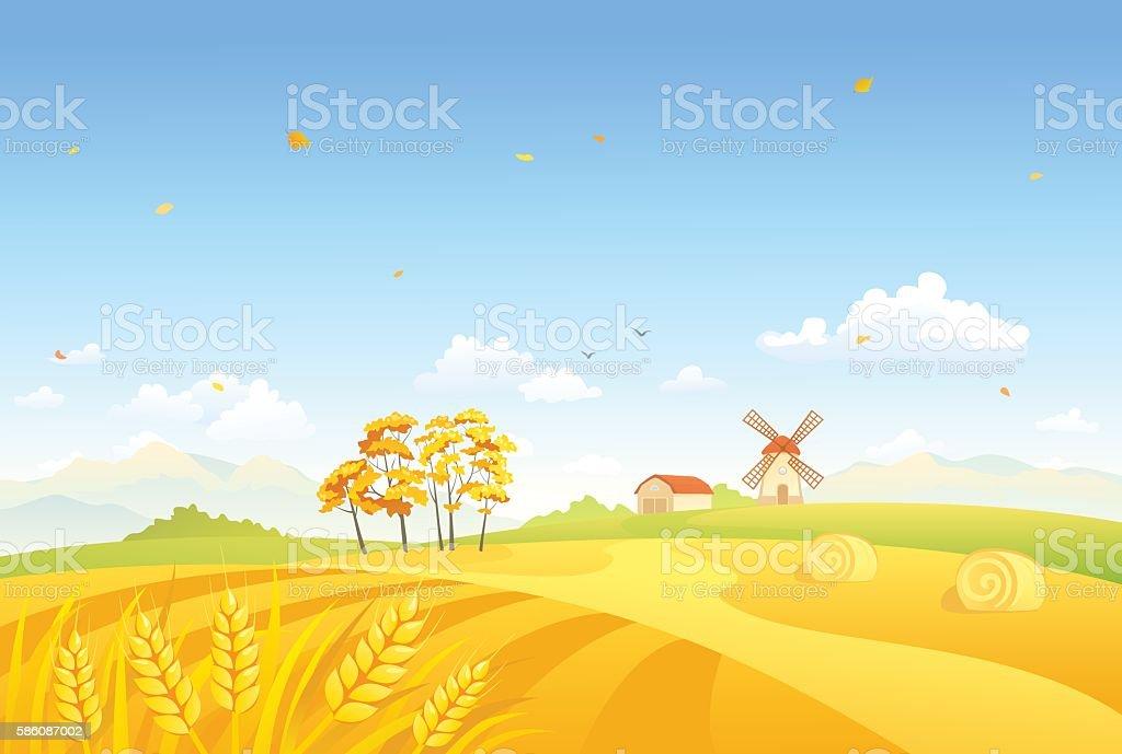 Autumn fields and windmill vector art illustration