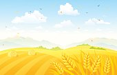 Vector illustration of a beautiful autumn background with wheat fields. RGB colors.