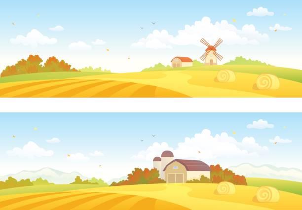 stockillustraties, clipart, cartoons en iconen met herfst velden banners - wheat field
