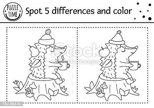 Outono encontrar diferenças jogo para crianças. Atividade educativa em preto e branco e página de colorir com ouriço sentado em um toco com caneca. Folha de trabalho impressa da temporada de outono com animal de floresta bonito.