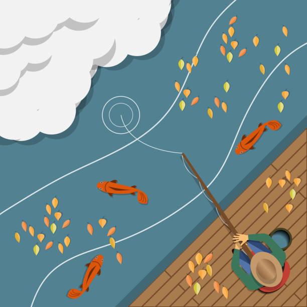 herbst angeln. - angelurlaub stock-grafiken, -clipart, -cartoons und -symbole