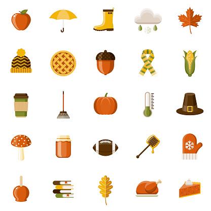 Autumn Flat Design Icon Set