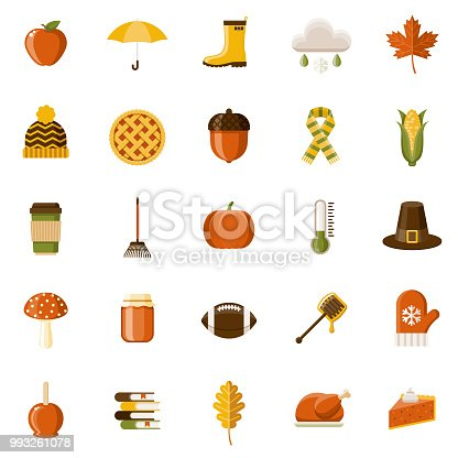 A set of 25 autumn themed flat design icons on a transparent background. File is built in the CMYK color space for optimal printing. Color swatches are Global for quick and easy color changes.