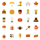 Autumn Flat Design Icon Set