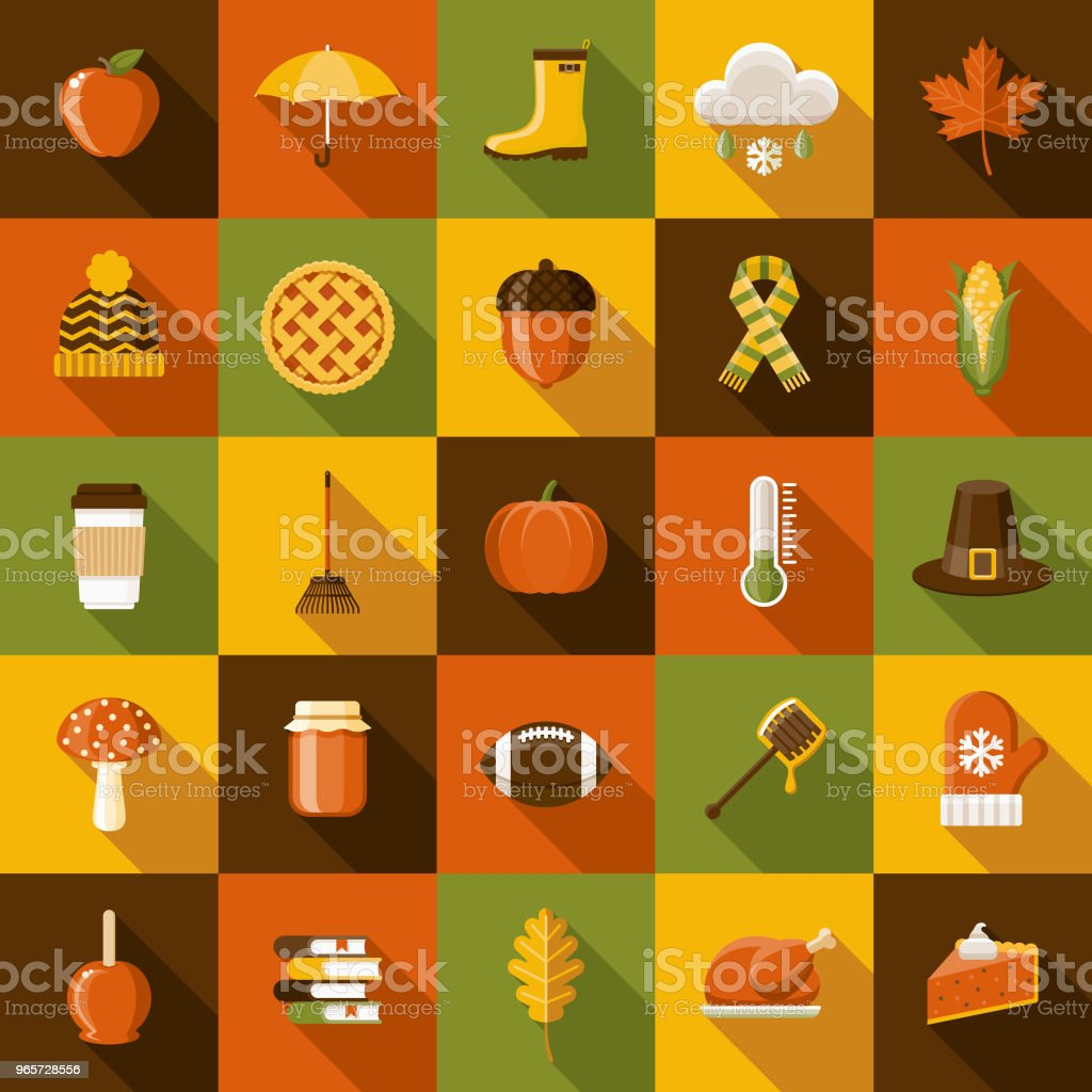 Autumn Flat Design Icon Set with Side Shadow - Royalty-free Acorn stock vector