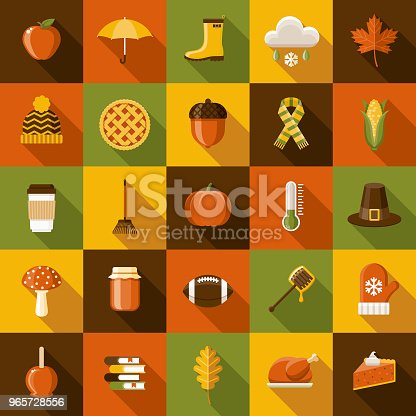 A set of flat design styled autumn icons with a long side shadow. Color swatches are global so it's easy to edit and change the colors.