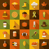 Autumn Flat Design Icon Set with Side Shadow