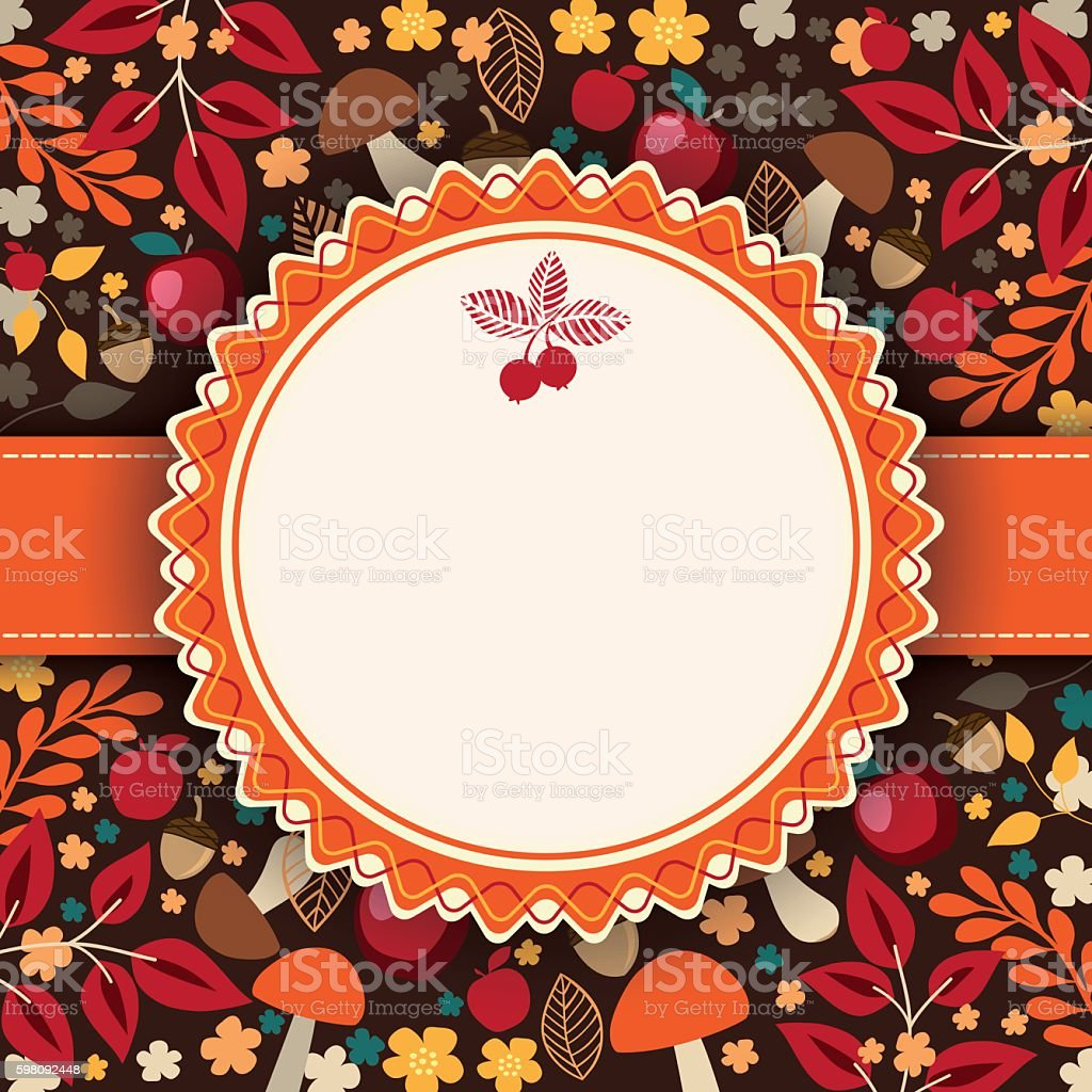 Autumn Floral Background With Circle Frame In The Middle Stock