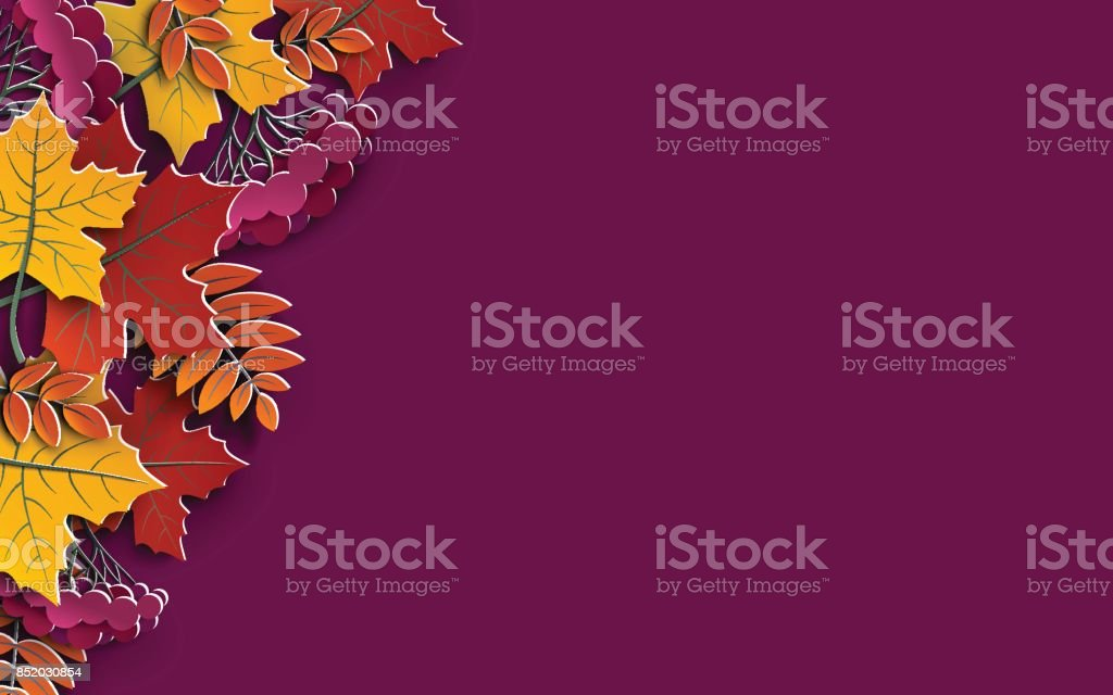 Autumn floral background with colorful silhouettes of tree leaves on purple background, design elements for the fall season banner, poster, flyer or thanksgiving greeting card