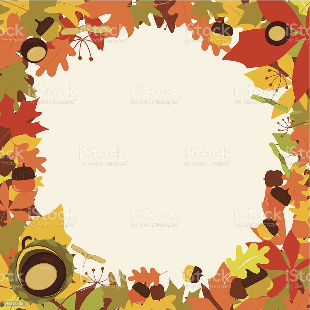 Autumn floral frame from leaves and wood gifts royalty-free stock vector art