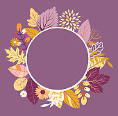Autumn floral frame template