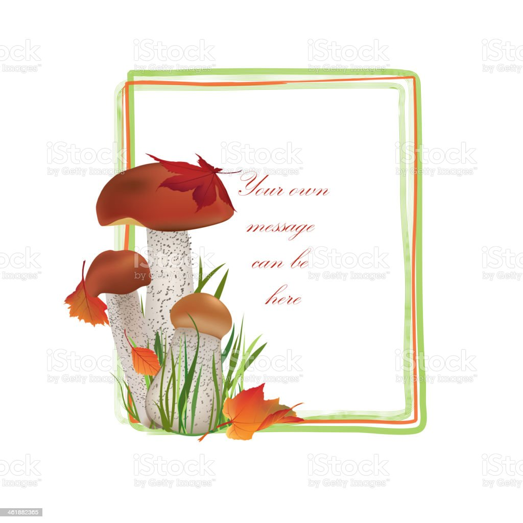 Autumn Floral Frame with mushrooms. royalty-free autumn floral frame with mushrooms stock vector art & more images of art