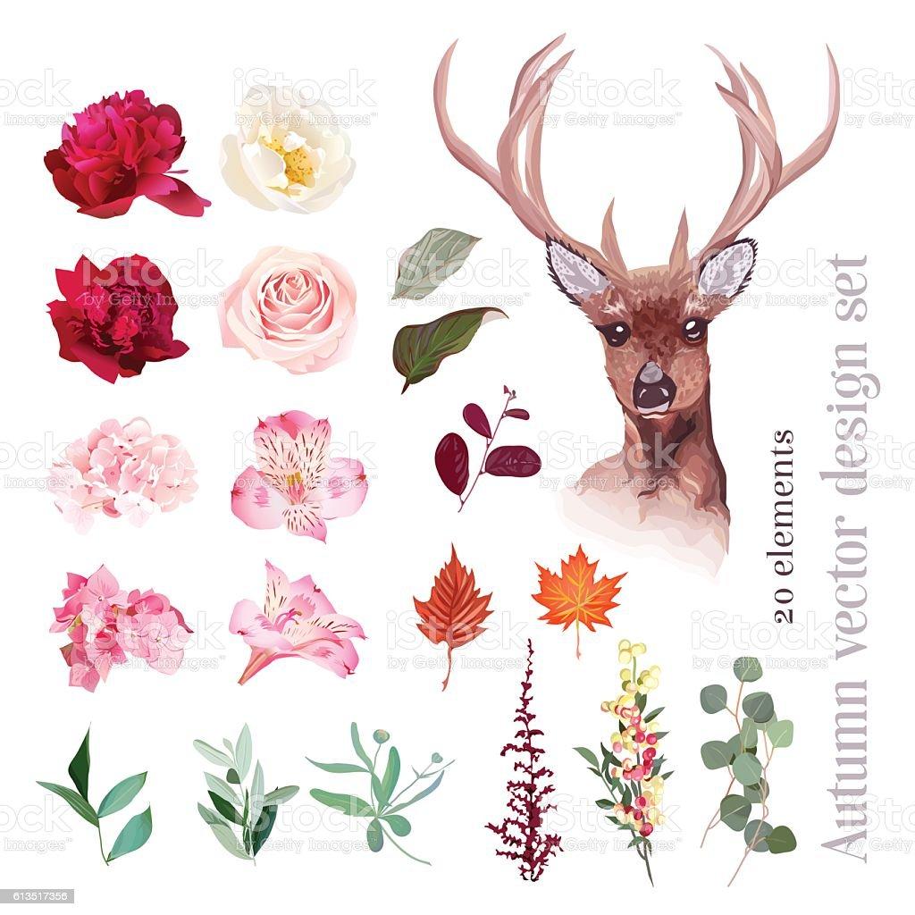 Autumn floral mix, reindeer head vector design set vector art illustration
