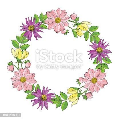 istock Autumn floral wreath with Dahlia (Georgina) and Zinnia. Hand drawn color sketch. Vector illustration for card, invitation, weddind card. 1309516931