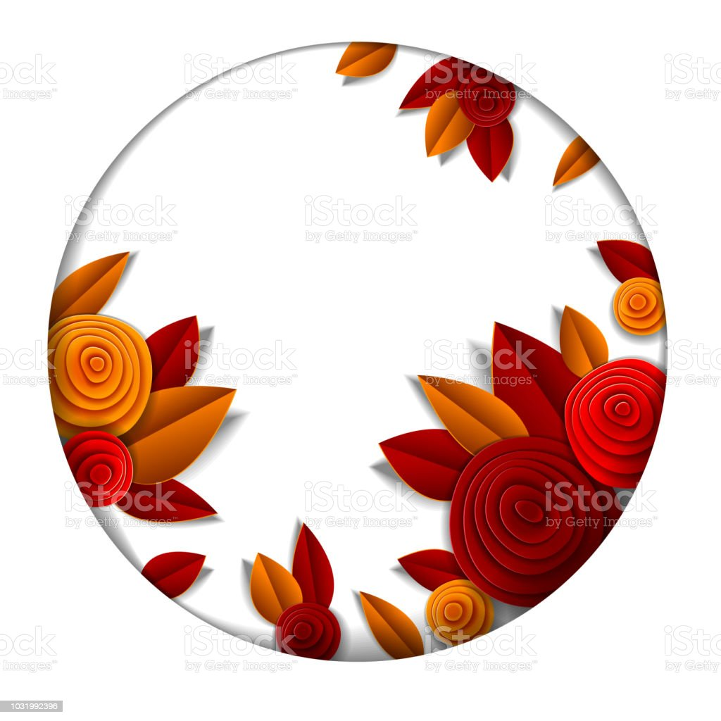 Autumn Flowers And Leaves Beautiful Background Or Frame With Blank ...