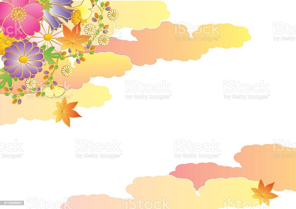 Autumn flowers. Japan flowers. vector art illustration