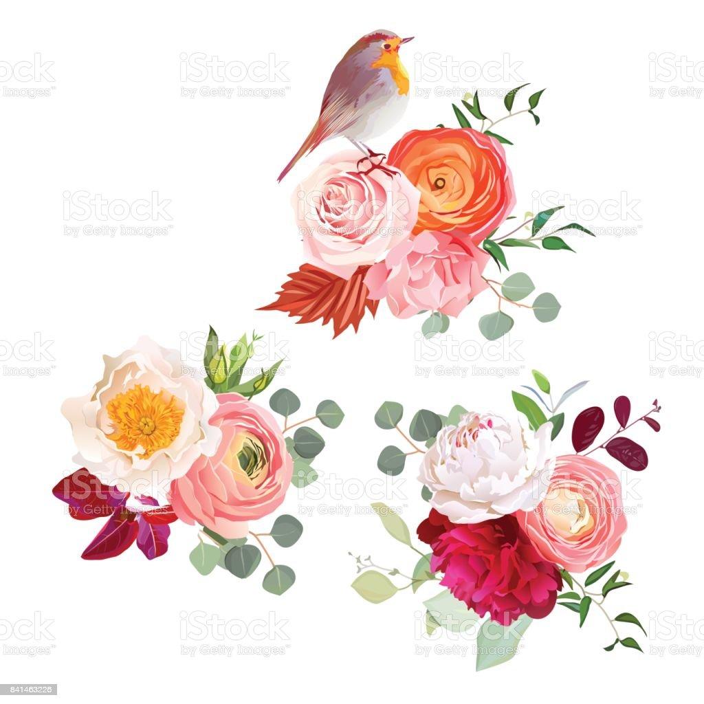 Autumn Flowers Mix And Cute Robin Bird Vector Design Bouquets Stock ...