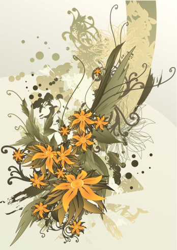 Autumn Flowers Stockvectorkunst en meer beelden van Abstract
