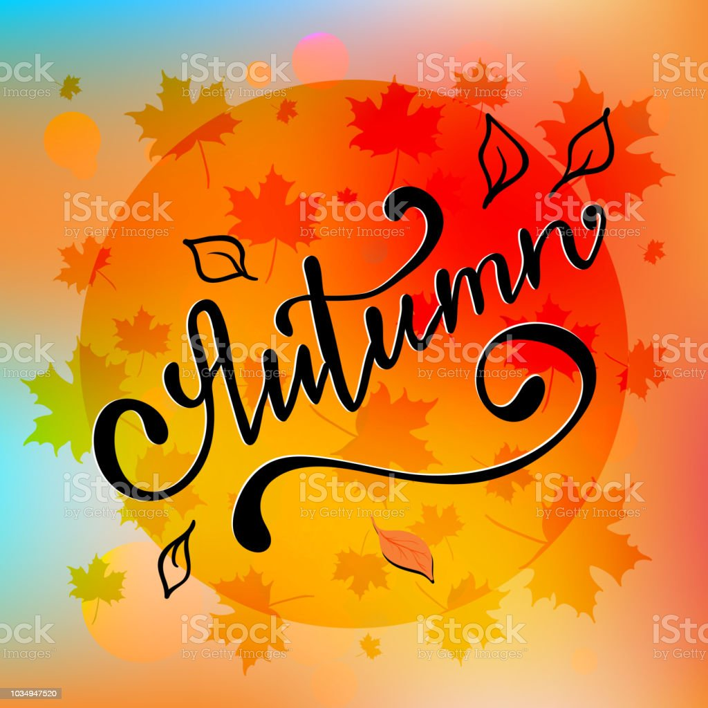autumn flyer template with lettering bright fall leaves poster card