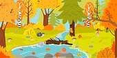 Autumn forest. Autumnal nature landscape, yellow forests trees and woodland fall leaves. October foliage fall autumnal scene, september park tree and river cartoon vector illustration