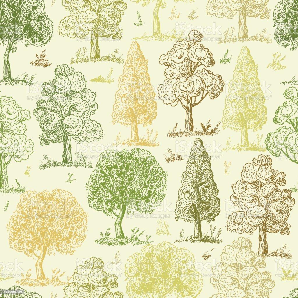 Herbst Wald Hintergrund Laubabwerfende Baume Seamless Pattern