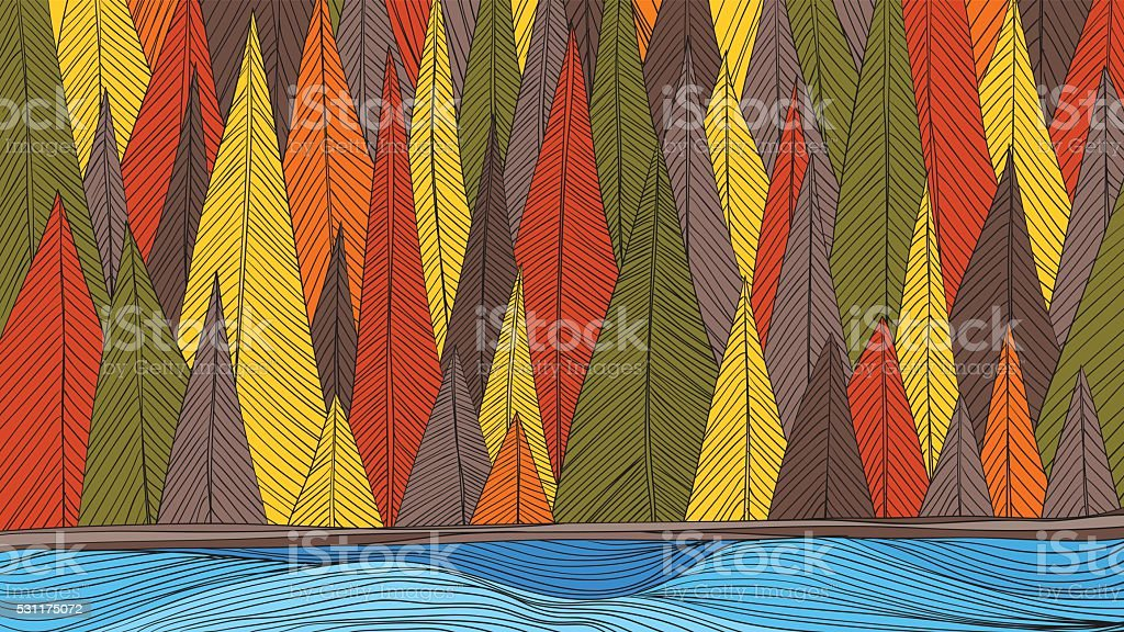 Autumn forest beside the river outline hand draw vector art illustration