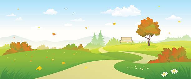Autumn forest pathway vector art illustration