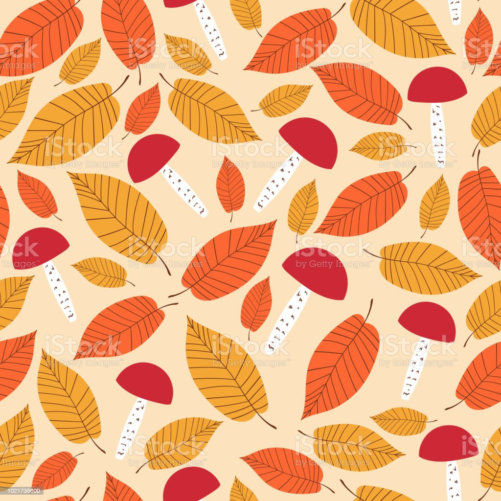 autumn forest pattern vector seamless mushrooms and elms leaves