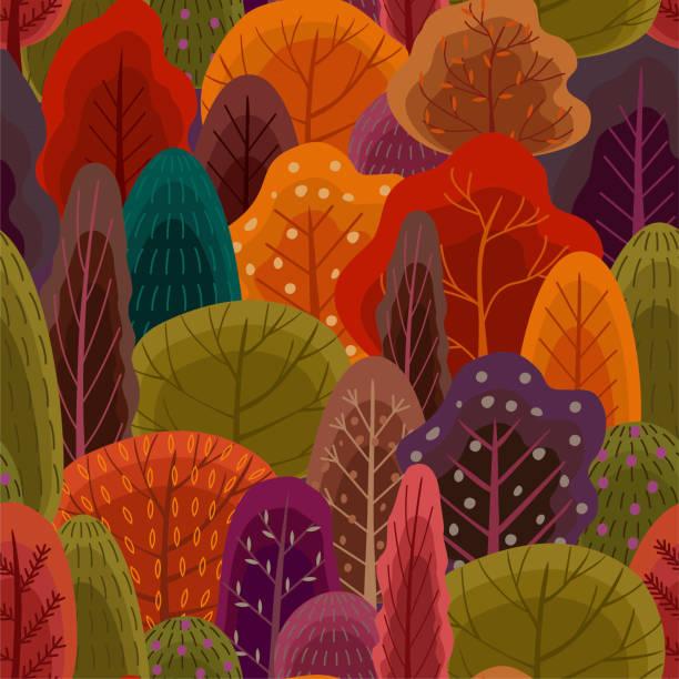 autumn forest pattern. vector seamless texture. trendy flat style. - wood texture stock illustrations