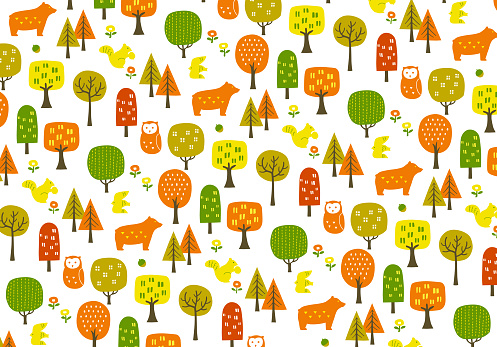 Autumn forest pattern with autumn leaves and animals Background illustration (white buck)