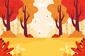 Autumn forest background. Flat design style.